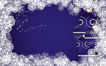 Blue christmas background with snowflakes and baubles,  illustration Stock Vector - 8313311