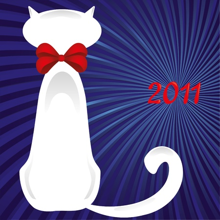 white cat: A White Cat sitting with his back to you in red bow and 2011 near,  illustration. Card for 2011 year - White Cat year