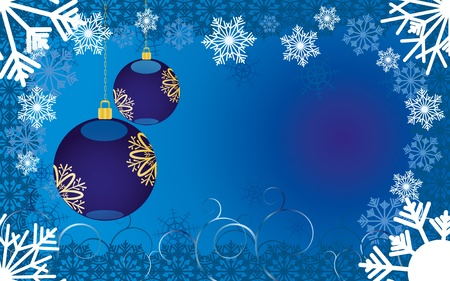 christmas backgrounds: Blue christmas background with snowflakes and baubles,  illustration