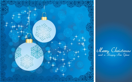 Blue Christmas card with baubles, wish of Merry Christmas and place for text,  illustration Stock Vector - 8313319