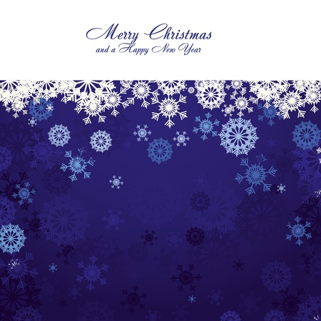 Blue christmas background with snowflakes and wish of Merry Christmas,   illustration