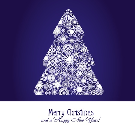 Christmas greetings card with fir tree made from snowflakes on blue background,   illustration Stock Vector - 8313316