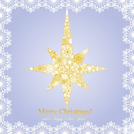 Christmas golder star mage from snowflakes on blue background and a wish of Merry Christmas,  illustration Vector