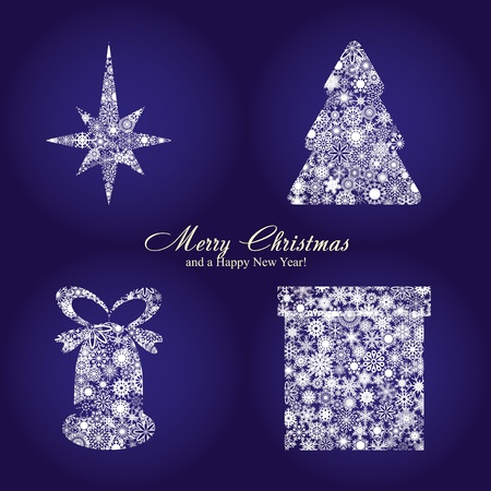 Christmas card with fir tree, star, gift box and bell made from silver snowflakes, Christmas decorations on blue background and a wish of Merry Christmas and a Happy New Year,  illustration Vector