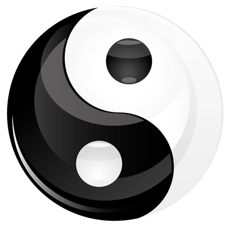 taoisme: Yin yan glitter ondertekenen geïsoleerd op wit, afbeelding Stock Illustratie