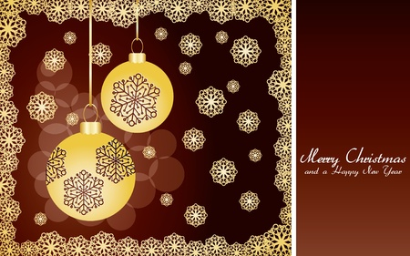 Brown christmas card with golden snowflakes and baubles, very beautiful greetings card,   illustration Stock Vector - 8313324