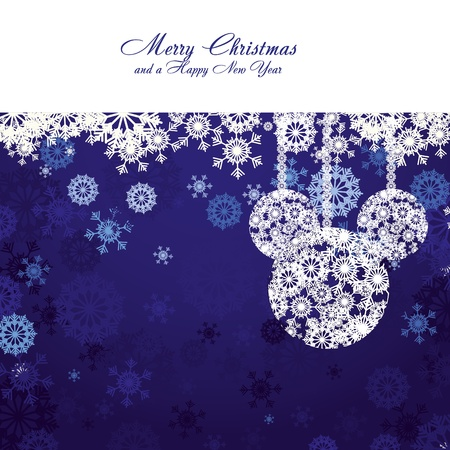 Merry Christmas and Happy New Year! Christmas card with snowflakes and christmas decorations on blue background,  illustration Illustration