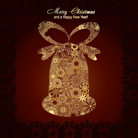 Christmas bell made from gold snowflakes on brown background,   illustration Stock Vector - 8313326