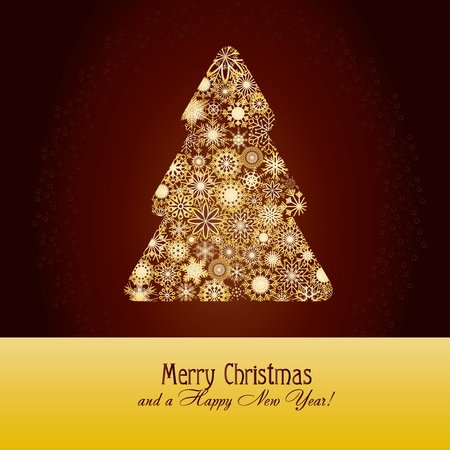 Christmas greetings card with fir tree made from gold snowflakes on brown background,   illustration Stock Vector - 8313321