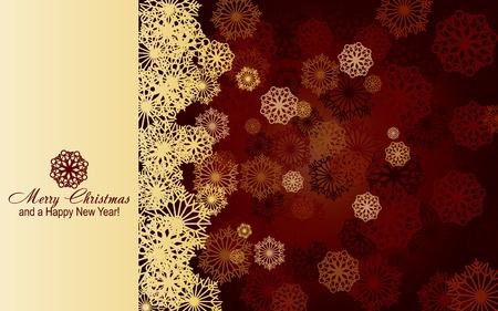 Bruin Kerst kaart met gouden sneeuwvlokken, zeer mooie wens kaart, afbeelding