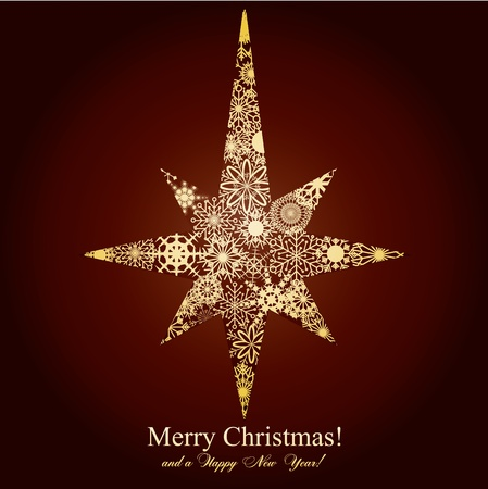 Christmas star mage from snowflakes on brown background,  illustration