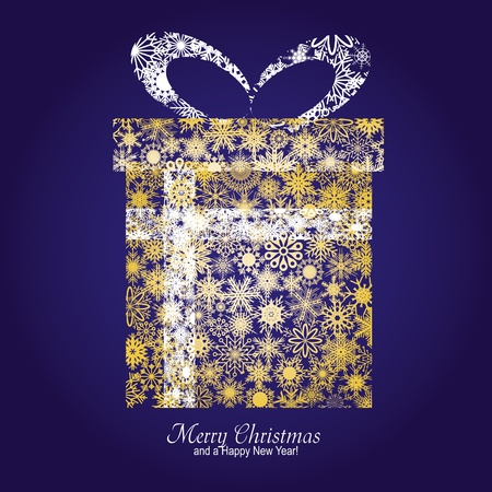 Christmas card with gift box made from gold snowflakes on blue background and a wish of Merry Christmas and a Happy New Year,   illustration Vector