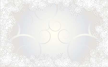 Christmas catd decorated with snowflakes and curls on silver background, vector illustration Vector