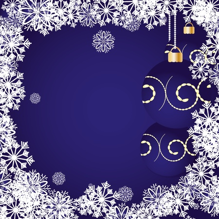 Blue christmas background with baubles and snowflakes, vector illustration Vector