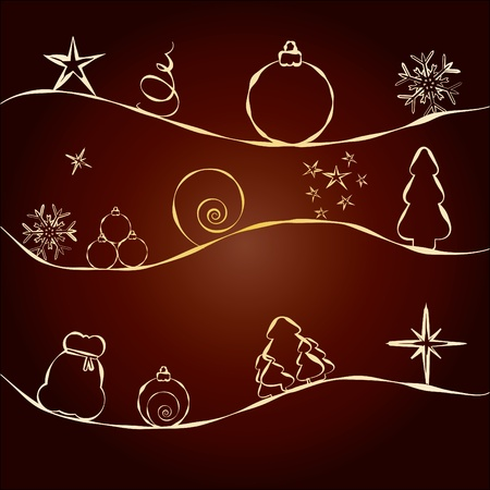 Brown Christmas Card with golden pattern with stars, fir trees, balls and baubles, greetings card for December Holidays, vector illustration Stock Vector - 8361415