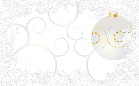 Christmas catd decorated with snowflakes, curls and bauble on white background Stock Vector - 8408152