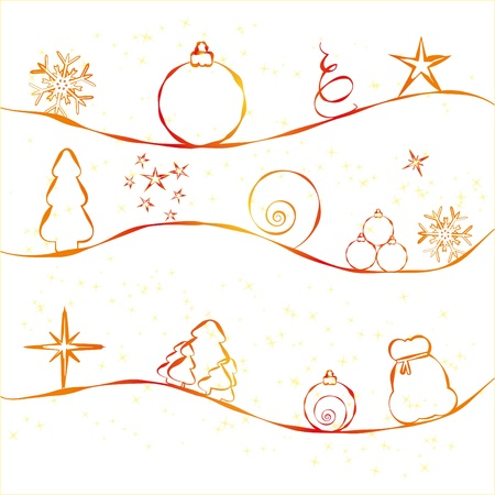 Christmas card with simple Christmas decorations on strry background Vector