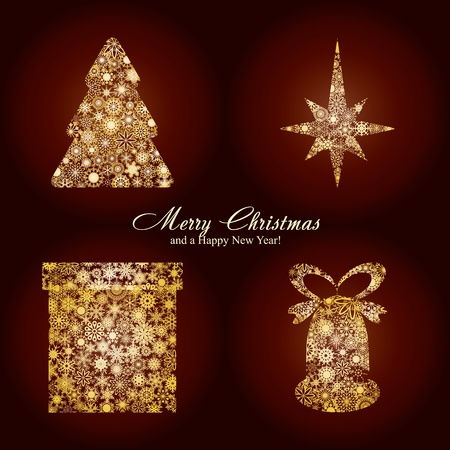 Christmas card with fir tree, star, gift box and bell made from gold snowflakes, Christmas decorations on brown background and a wish of Merry Christmas and a Happy New Year on brown background Stock Vector - 8408157
