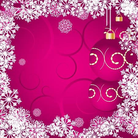 christmas pink: Christmas card with snowflakes, baubles and curls on pink background. Merry Christmas and a Happy New Year