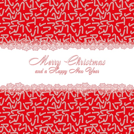 Christmas pattern with candy cane, background with sweets and with of Merry Christmas and a Happy New Year Stock Vector - 8408160
