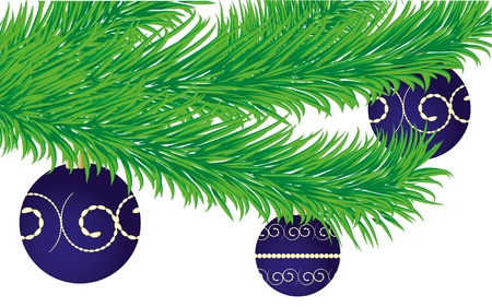 Christmas greetings card with fir tree branch decorated with baubles Stock Vector - 8408159