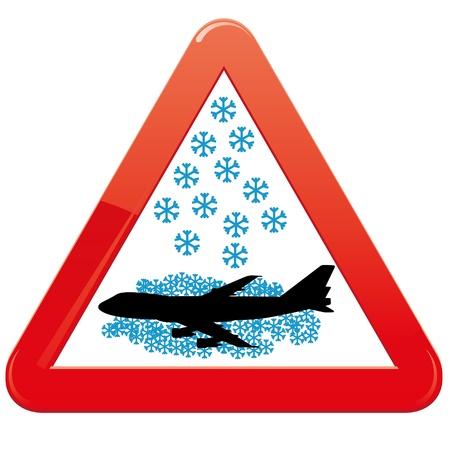 canceled: Warning sign about snowfalls Illustration