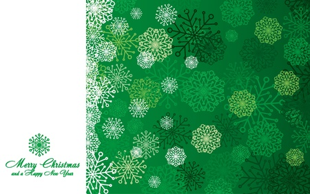 Green Christmas card with snowflakes, vector illustration Vector