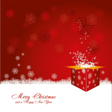 red gift box: Red Christmas card with snowflakes and red christmas box full of stars, vector illustration