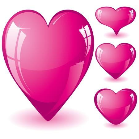 Set glitter shiny pink hearts Vectores