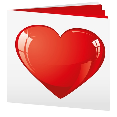 advertizing: Book with heart on top as love brochure,  illustration