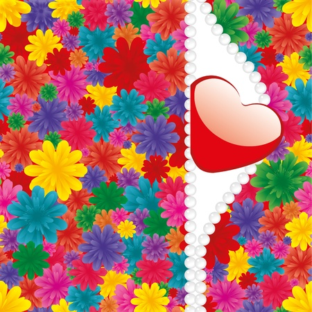 Valentine background with heart, flowers and pearl Vector