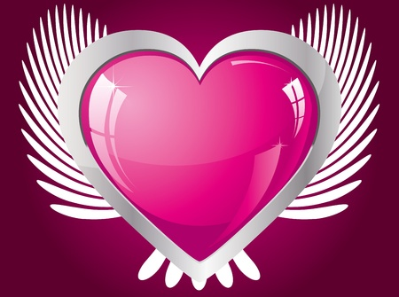 Winged glitter pink heart Vector