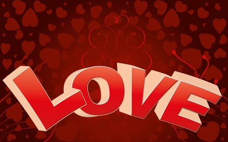 i love u: Red valentine background with big LOVE word and curls Illustration
