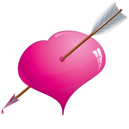 pierced: Glitter pink heart pierced by an arrow, Illustration
