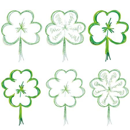 four leafed clover: Conjunto de tr�boles para el d�a de San Patricio, ilustraci�n