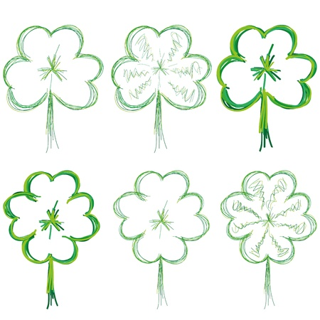four fourleaf: Set of clovers for St. Patrick`s day, illustration