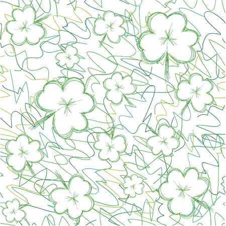 Seamless background with sketch clovers for St.Patrick day, illustration Stock Vector - 8790589