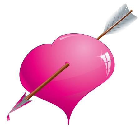 corazon rosa: Glitter Rosa coraz�n atravesado por una flecha, ilustraci�n