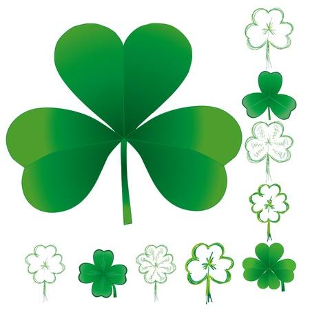 four leafed clover: Conjunto de tr�boles para el d�a de San Patricio, ilustraci�n vectorial