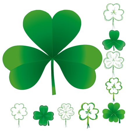 patric: Set of clovers for St. Patrick`s day, vector illustration