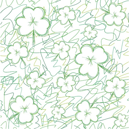 Seamless background with sketch clovers for St.Patrick day, vector illustration Stock Vector - 8912582