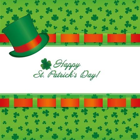 four leafed clover: Fondo con tr�boles de d�a de St.Patrick con un tr�bol feliz, ilustraci�n