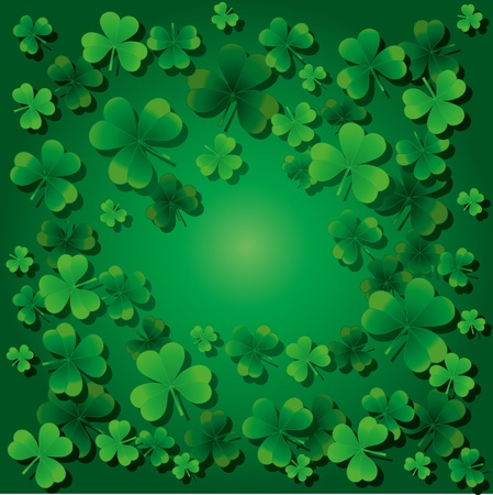 four leafed clover: Fondo con tr�boles de d�a de St.Patrick con un tr�bol feliz, ilustraci�n vectorial