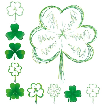 fortunateness: Set of clovers for St. Patrick`s day, vector illustration