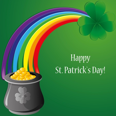 Background with clovers for St.Patrick`s day, vector illustration Vector