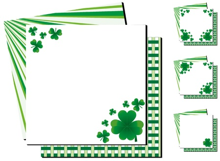 patrik: Set of background with clovers for St.Patrick`s day with one happy clover, vector illustration Illustration