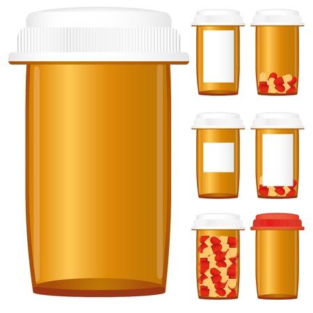 pastillas: Conjunto de botellas de medicina con receta aislado en un fondo blanco,