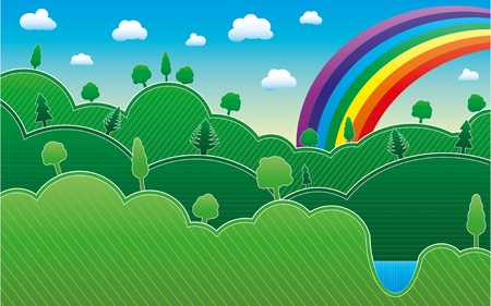 Spring or summer background with meadow, trees and rainbow,  Vector