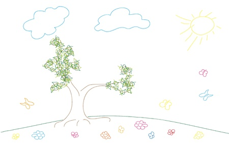 Sketch spring or summer background with meadow, flowers and butterfly Vector