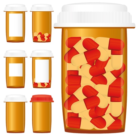 Set of prescription medicine bottles with pills isolated on a white background Stock Vector - 9068342